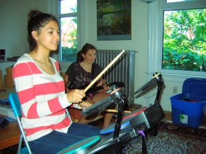 Madison and Marlee play Rock Band